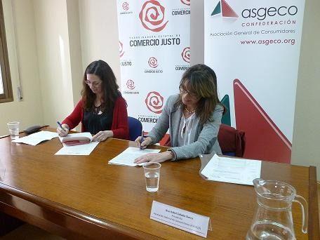 La Coordinadora Estatal de Comercio Justo y la Asociación General de Consumidores firman un convenio de colaboración
