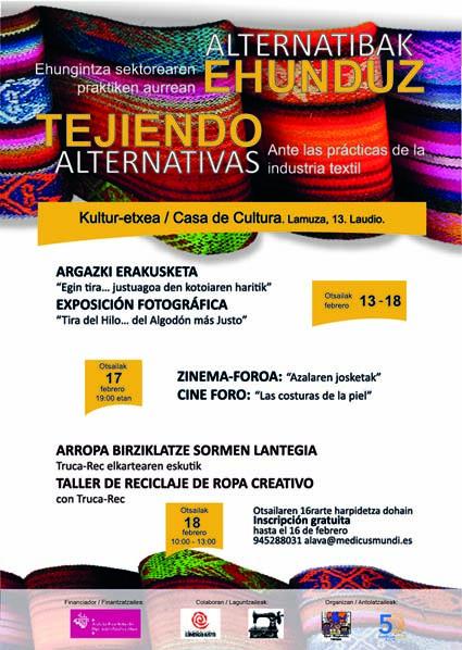 """""""Tejiendo alternativas, súmate al Comercio Justo"""", jornadas de sensibilización sobre el sector textil en Laudio"""