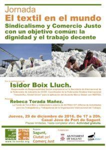 Jornada «El textil en el mundo. Sindicalismo y Comercio Justo con un objetivo común: la dignidad y el trabajo decente»