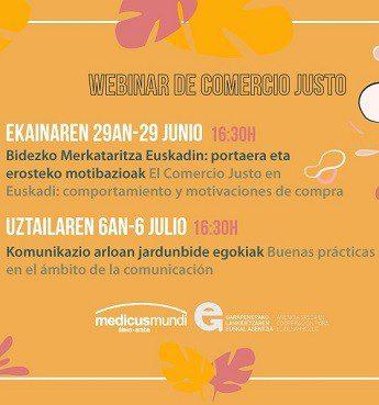 Próximos «webinar»: Comportamientos y motivaciones de compra de Comercio Justo en Euskadi y buenas prácticas de comunicación